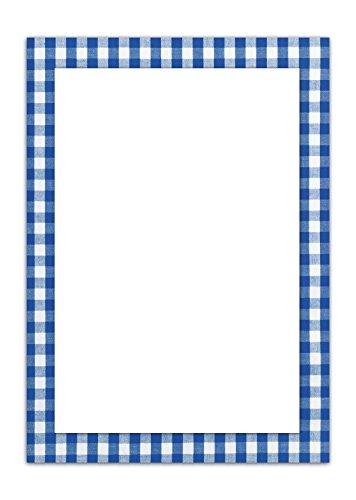50 vellen briefpapier printpapier BLAUW wit geruit eenzijdig bedrukt RAHMEN 100 g schrijfpapier motief-papier DIN A4 briefboog Beieren Beierse Design-Papier