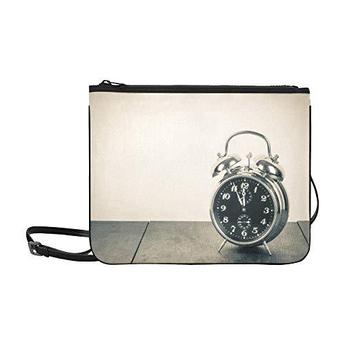 SHAOKAO Antiguo Retro Reloj de Alarma Patrón Personalizado de Alto grado de Nylon Delgado Bolsa de Embrague Bolsa de cuerpo cruzado Bolsa de hombro