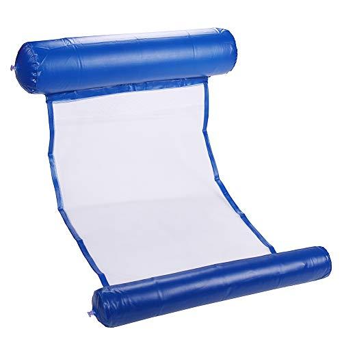 Wasserhängematte, Schwimmbad Strand Schwimmende Liege Aufblasbare Wasser Hängematte Schwimmbett Lounge Chair Drifter Schwimmbad Strand Schwimmluftmatratze Schwimmkissenbett (Dunkelblau)