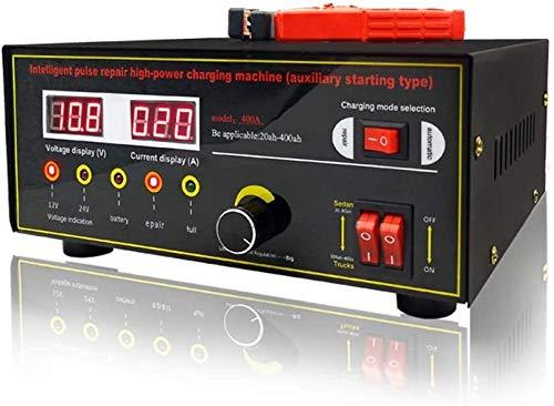 Metdek Cargador de batería de coche, 12 V/24 V, 600 W, dispositivo de mantenimiento, cargador de batería inteligente automático con pantalla LCD y carga rápida, adecuado para otros tipos de baterías