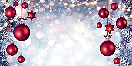 Leowefowa 15x8ft Red Christmas Balls Vinyl Backdrop Snow Freezing Pine Cones Bokeh Shiny Halos Photography Backgroud Dreamy New Year Party Decoration Wonderland Theme Children Portraits