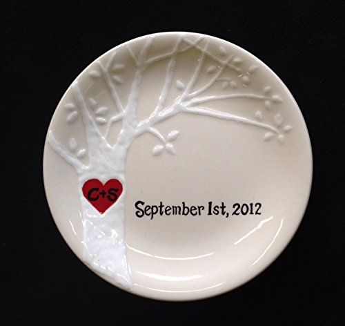 Dove Porcelain Hand painted Wedding Anniversary Free Shipping Ring Dish Couples Gift