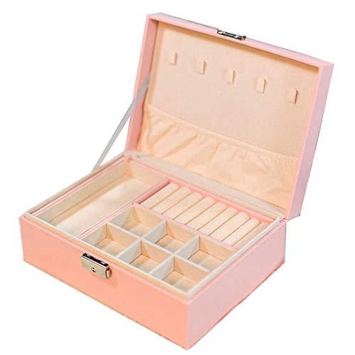 Joyero de piel sintética para mujer, caja de almacenamiento para pendientes, pulseras, collares, anillos, organizador de joyas portátil de doble capa, color rosa