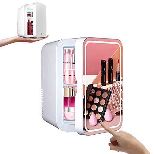 SFSGH Mini refrigerador de Belleza para Maquillaje, refrigerador portátil de Cuidado de la Piel cosmético de 8 l, Espejo de Maquillaje e iluminación LED, congelador más frío/Caliente, ut