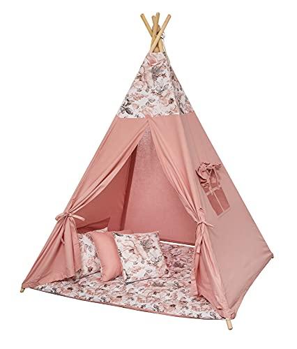 Tipi Spielzelt für Kinder mit Matte Tippi Kinderzelt Kinderzimmer Teepee Wigwam...