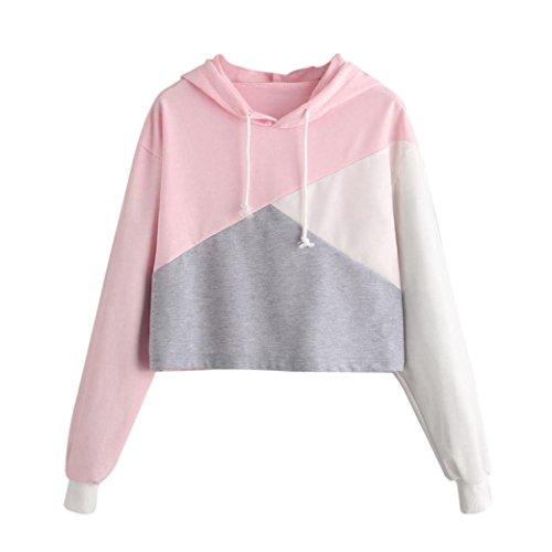 Xinan Damen Kapuzenpullover Damen Sweatshirt Hoodie Shirt Crop Top (S, Rosa 1)