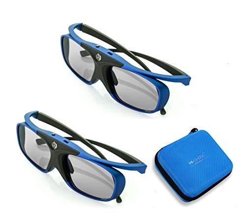 2X Hi-SHOCK RF / BT Pro Deep Heaven & Dualcase | Aktive 3D Brille für 3D TVs von Samsung, Hisense, Telefunken | komp zu SSG-3570 CR / AN3DG35 / TY-ER3D5ME / FPT-AG03G [120 Hz | wiederaufladbar]