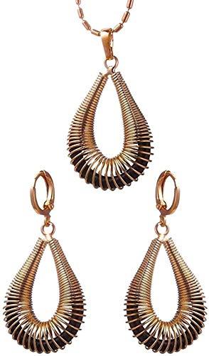 Yaoliangliang Conjuntos de bisutería de Concha en Espiral Hueca para Mujer Pendientes de Color Oro Rosa Collar Conjuntos de joyería Nupcial Longitud 45Cm