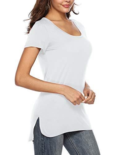Beluring Damen T-Shirt Rundhals Kurzarm Oberteil Tops Basic T Shirt mit seitlichem Schlitz (L/EU 42-44, Weiß)