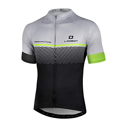 LAMEDA Cycling Jerseys Cycle Bike Jersey Mens Tops Shirt Team Short Sleeve Mountain Bicycle Breathable Sports Clothing for Men Summer Grey L