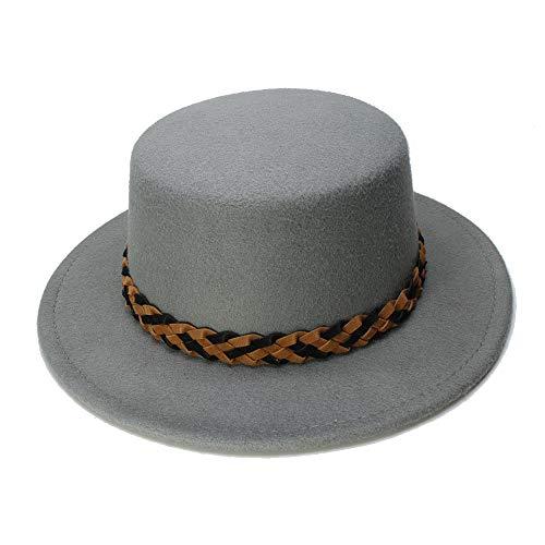 ZLQ Kid Child Vintage 100% Wool Wide Brim Round Cap Pork Pie Porkpie Bowler Hat (Color : Gray, Size : 54cm)