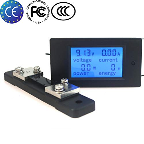 KETOTEK Ammeter Voltage Spannung Meter Shunt Leistungstester Energiezähler Digital DC 6,5-100 V 100A Voltmeter Volt Ampere Multimeter LCD Spannungsprüfer (Multimeter+50A/75mV shunt)