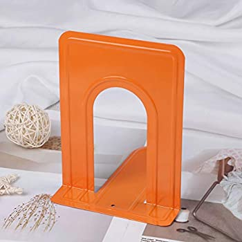 TUANTUAN 1 Pair Metal Bookends Non Skid Bookend Supports Heavy Duty Standard Bookends for Shelves Table Office and Home,Orange