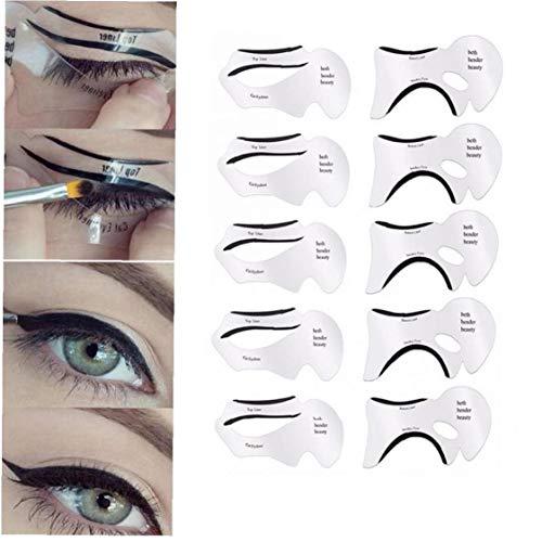 Amoyer Modelos 10pc Delineador de Ojos Sombra de Ojos con alas Plantillas Eye Liner Lápiz de Sombra de Ojos Guía Shaping Plantilla de la Plantilla Ojos fabricar Herramientas de la Ayuda de