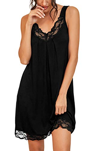 PrinStory Women's Loose Full Slips Lace Nightgown Chemise Sleepwear Cotton Jersey Lingerie US Small Black