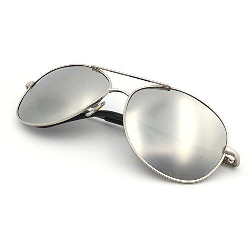 J+S - Gafas de Sol de Aviador de Estilo Militar clásico, polarizadas, 100% protección UV (Marco Mediano, Montura Plateada/Lentes de Espejo Plateada)