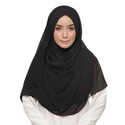 LMVERNA Chiffon Scarf Plain Thick Luxurious Soft Chiffon Hijab Long Shawl Wrap Scarf (Black)