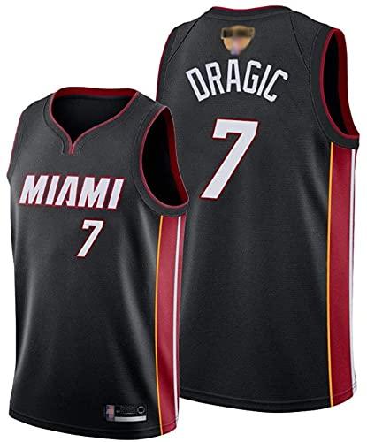XUECHEN Ropa Uniformes de Baloncesto para Hombres, Miami Heat # 7 Goran Dragic NBA Basketball Jerseys Transpirable Camiseta Tops Chalecos Informales, Negro, L (175~180cm)