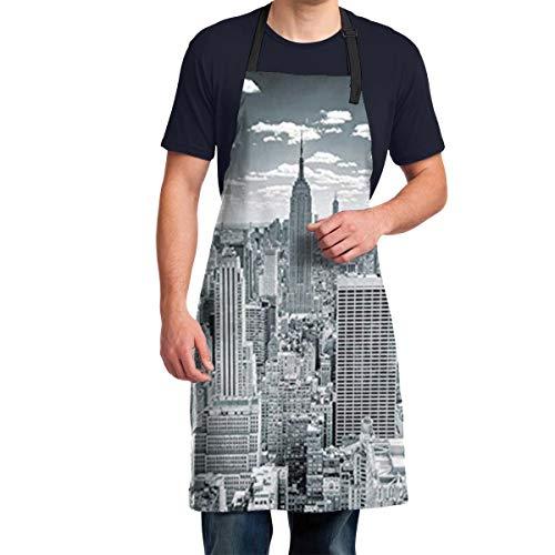 New York On Manhattan Urban Panorama Delantales para Hombres, Mujeres, cumpleaños, Regalos del día de San Patricio para mamá, papá, Esposa, Ella, él, Delantal de Cocina para Chef
