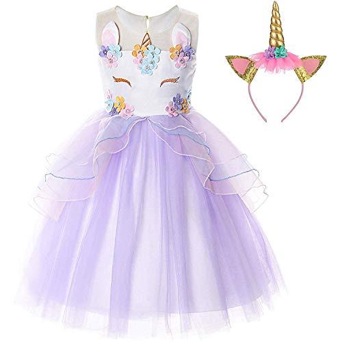 TTYAOVO Vestido de Princesa para niña con diseño de Unicornio fantasía Vestido de Fiesta sin Mangas con Volantes Tamaño(110) 3-4 años 372 Púrpura