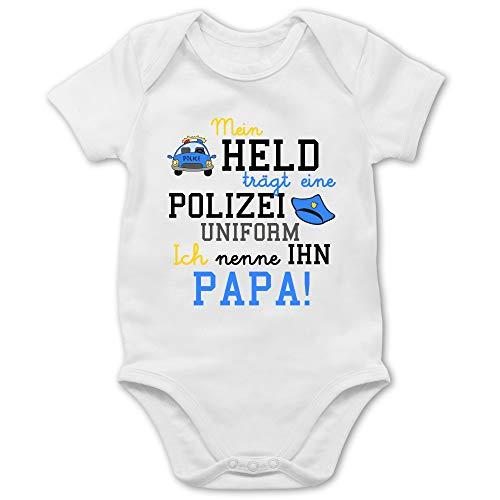 Sprüche Baby - Mein Held trägt eine Polizeiuniform - 3/6 Monate - Weiß - Beste Tante Baby - BZ10 - Baby Body Kurzarm für Jungen und Mädchen