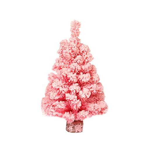 NUOBESTY Albero di Natale Artificiale Albero di Pino Rosa da 12 Pollici con Base in Legno per Decorazioni da Tavolo Natalizie (30 cm)
