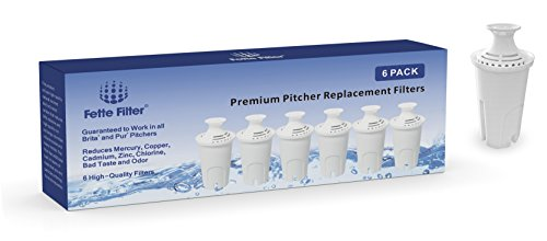 Brita Compatible Standard Replacement Water Filter for Pitchers, 6 Count
