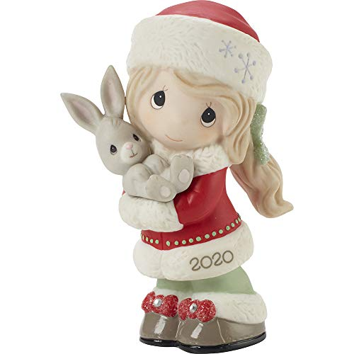 Precious Moments 201001 Every Bunny Loves A Christmas Hug 2020 Dated Girl Bisque Porcelain Figurine, Multicolored