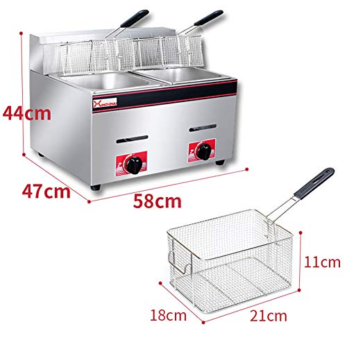 Fryer Natural Gas Deep, Commercial Deep 3 Stove Heads And Pulse Ignition 20L Large Capacity 2 Stainless Steel Chicken…