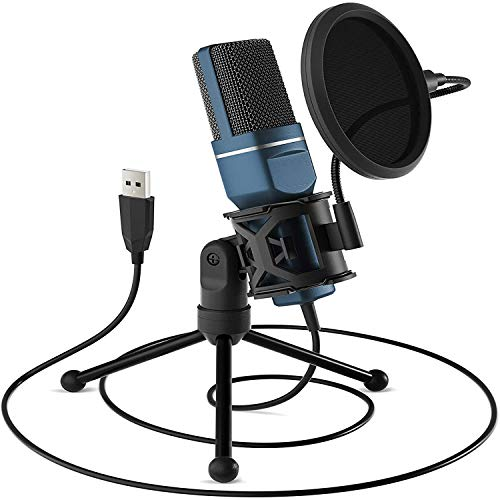 JKLL Micrófono USB, micrófono PC para Ordenadores Mac y Windows,con trípode de Metal,para grabación,Twitch Streaming, Voice Overs, Podcasting para Youtube, Chats de Skype,Azul