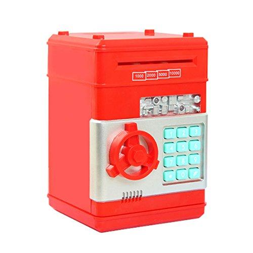 Netspower Salvadanaio Salvadanaio Digitale per Bambini, salvadanaio Automatico Mini ATM - 19,3 * 13,5 * 12,5 cm(Rosso)