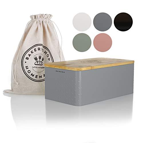LARS NYSØM Bread Box I Bread Bin with Linen Bread Bag for Long-Lasting Freshness I Bread Box Bamboo Lid Usable as Cutting Board I 33x19x12 cm