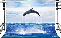 写真撮影のためのHDジャンプイルカの背景青い海の背景で高くジャンプするイルカ7x5ftHXMT290