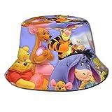 Bucket Hat Winnie The Pooh y Piglet Bucket Sun Hat para Hombres Mujeres -Gorra Protectora de Verano para Pesca, Safari, Canotaje en la Playa Negro-XX