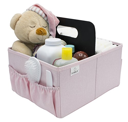 Sorbus Baby Diaper Caddy Organizer | Nursery Storage Bin for Diapers, Wipes & Toys | Portable Car Storage Basket | Changing Table Organizer | Great Baby Shower Gift Basket (Pink)