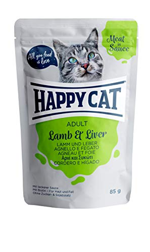 Happy Cat NEU Pouches - Meat in Sauce - 24 x 85 gr. = 1 VE Pouch Adult Lamm & Leber
