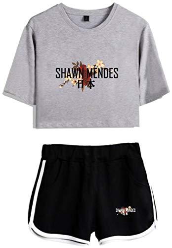 Silver Basic Damen Shawn Mendes 98 Sommer Fashion T-Shirt und Shorts Set Sport Tops Grau & Schwarz-5 M-1