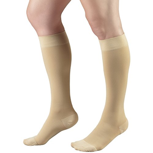 Truform Short Length 20-30 mmHg Compression Stockings for Men and Women, Reduced Length, Closed Toe, Beige, X-Large