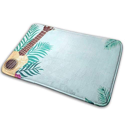 Alfombra alfombras Ukelele Guitarra Tropical Palm Leaves Alfombras de baño estera del piso Tapetes 40 X 60CM