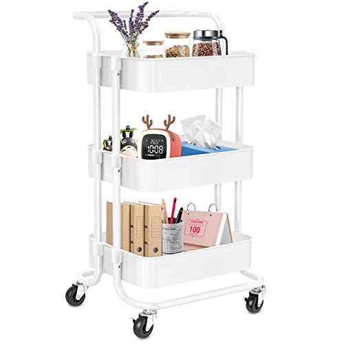 PECHAM 3-Tier Rolling Utility Cart with Handle, Movable Storage Organizer Shelves Multifunction Storage Trolley Service Cart with Lockable Wheels,Easy Assembly for Kitchen, Bathroom, Office