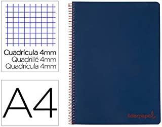 Cuaderno espiral liderpapel A4 wonder tapa plastico 80h 90gr cuadro 4mm con margen color azul marino. (5 Unidades)