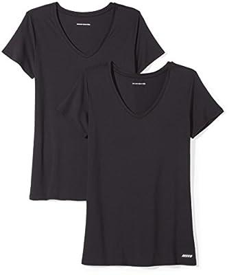 Amazon Essentials Women's 2-Pack Tech Stretch Short-Sleeve V-Neck T-Shirt, Black, Medium