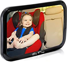 Shatterproof Baby Backseat Mirror for Car - View Infant in Rear Facing Car Seat - Newborn Safety With Secure Crash Tested Headrest Double-Strap - Essential Car Seat Accessories