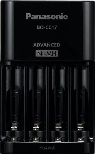 Panasonic BQ-CC17KSBA eneloop Advanced Individual Battery Charger with 4 LED Charge Indicator Lights, Black