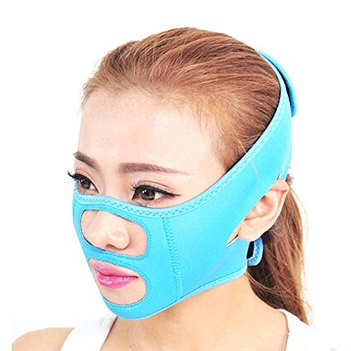 PuuuK V-Forme de Levage du Visage Artefact Ceinture Face Levage V-Face avec Masque de Sommeil Bandage Tight Levage Double Menton Masque Visage-Levage,Bleu