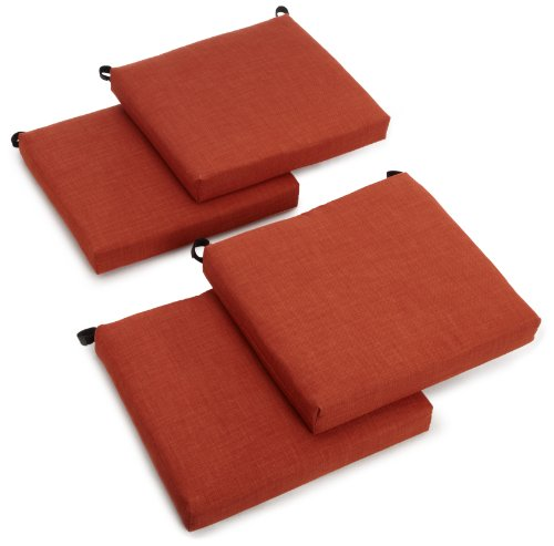 Blazing Needles Indoor/Outdoor Spun Poly 20-Inch by 20-Inch by 3-Inch All Weather UV Resistant Zippered Cushions, Cinnamon, Set of 4