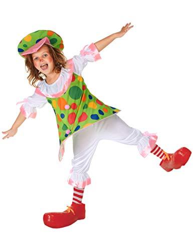 DEGUISE TOI Déguisement Clown à Pois colorés Fille - S 4-6 Ans (110-120 cm)