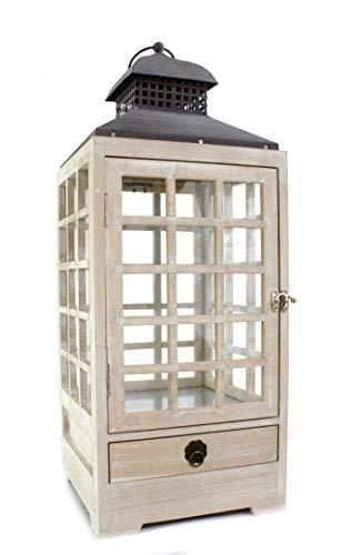 DARO DEKO Holz Laterne mit Echt-Glas Scheiben 25cm x 25cm x 65cm