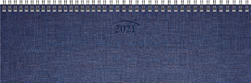 BRUNNEN 1077701301 Tischkalender/Querterminbuch Modell 777, 2 Seiten = 1 Woche, 326 x 102 mm, Karton-Umschlag blau, Kalendarium 2021, Wire-O-Bindung