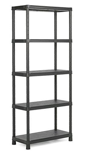 KETER | Etagère Plus 80/5, Noir, 80 x 40 x 187 cm, Plastique